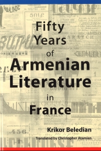 "Book cover for ""Fifty Years of Armenian Literature in France"" by Krikor Beledian"