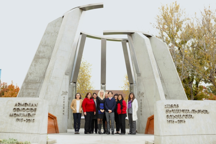 Dean's Office staff by the Armenian Genocide Memorial
