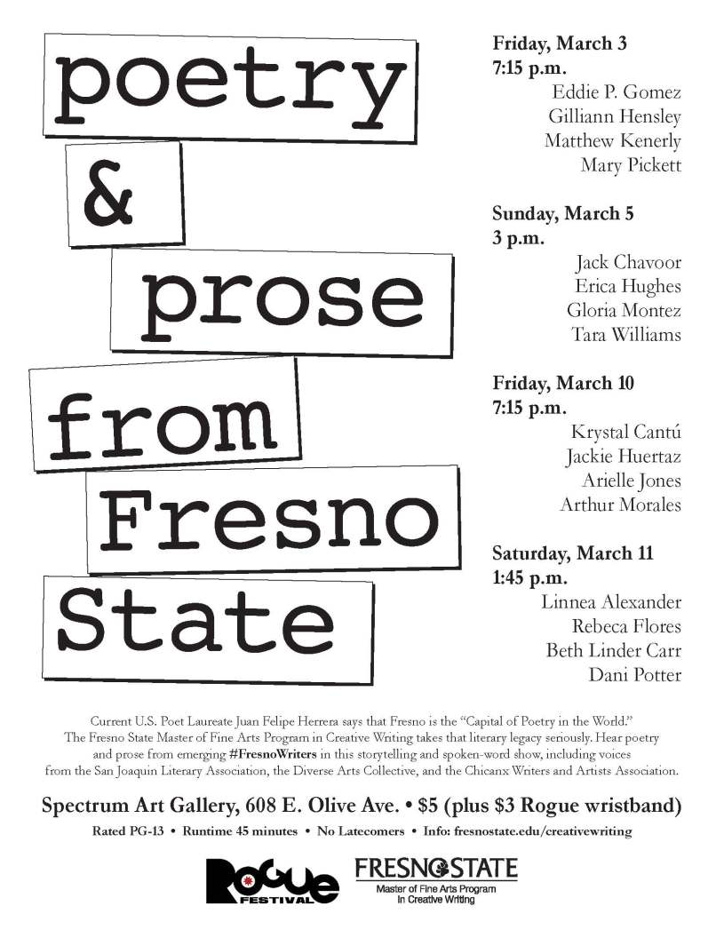 Poetry and Prose flyer for Rogue Festival