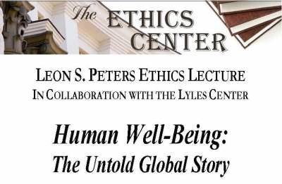 Flyer for Ethics lecture on Human Well-Being