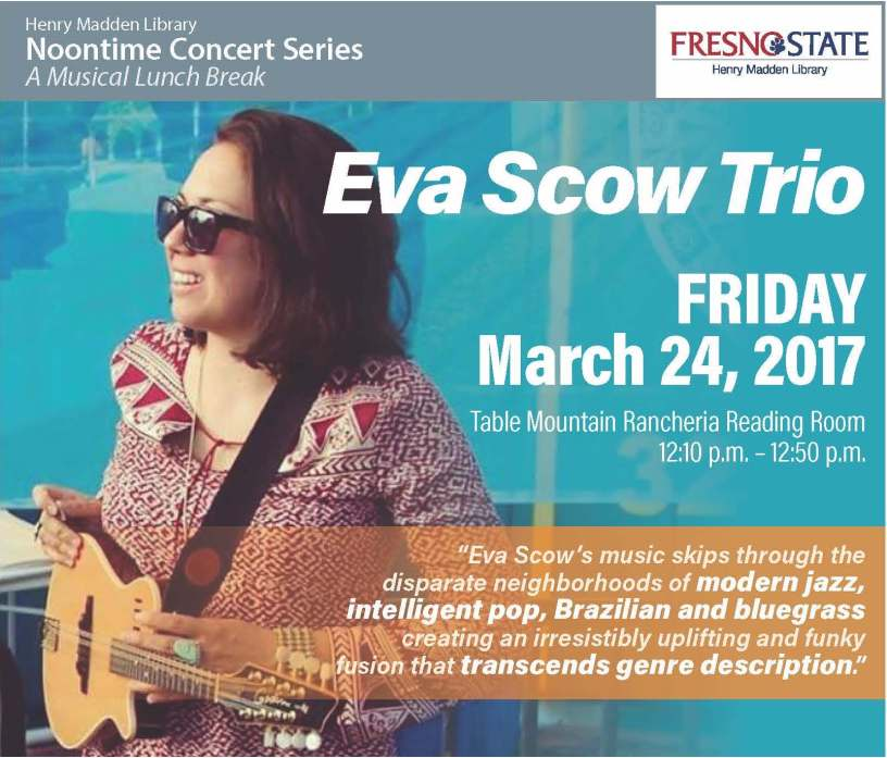 Flyer for Eva Scow Trio Noontime Concert