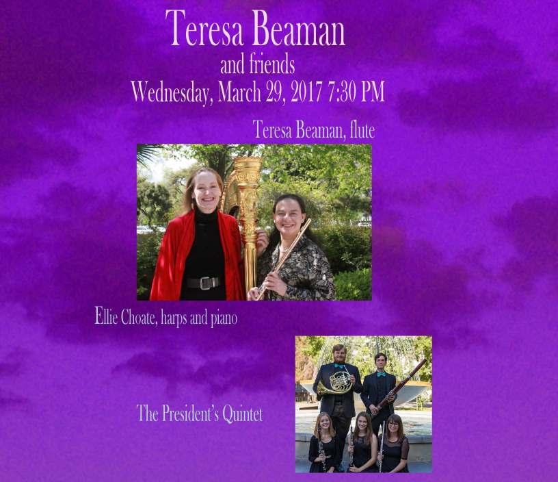 Flyer for Teresa Beaman concert