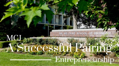 Large brick sign in front of Sid Craig School of Business. MCJ and Entrepreneurship students partnered up for a project.