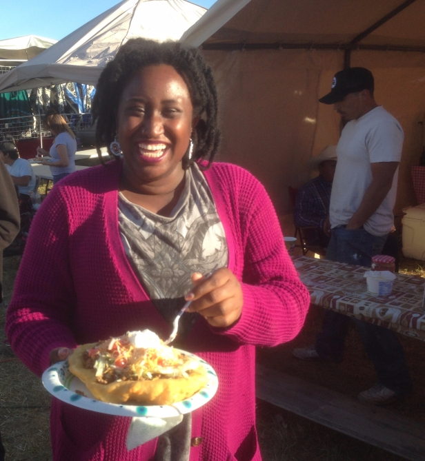 Undergraduate linguistics student Diamond Henderson has an Indian taco