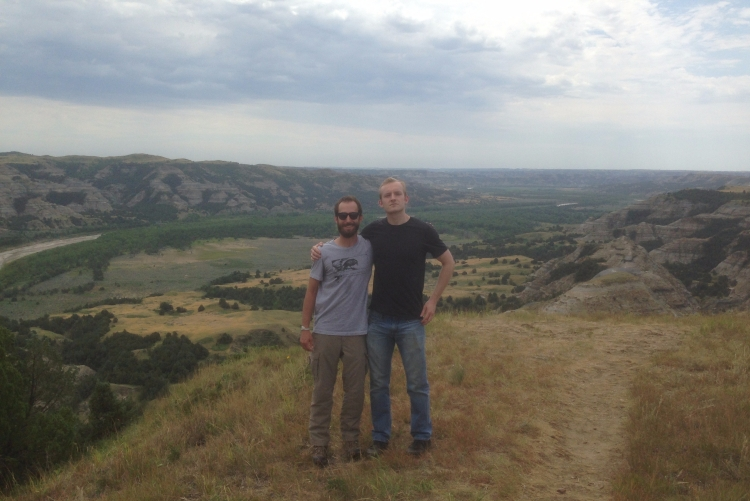 From left, grad student Zach Metzler and Elliot Thornton, an IT specialist for The Language Conservancy.