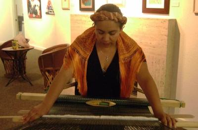 Woman weaving a rebozo