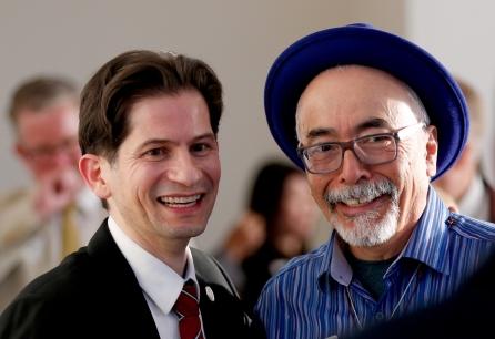 From left, Dean Saúl Jimenez-Sandoval and Juan Felipe Herrera