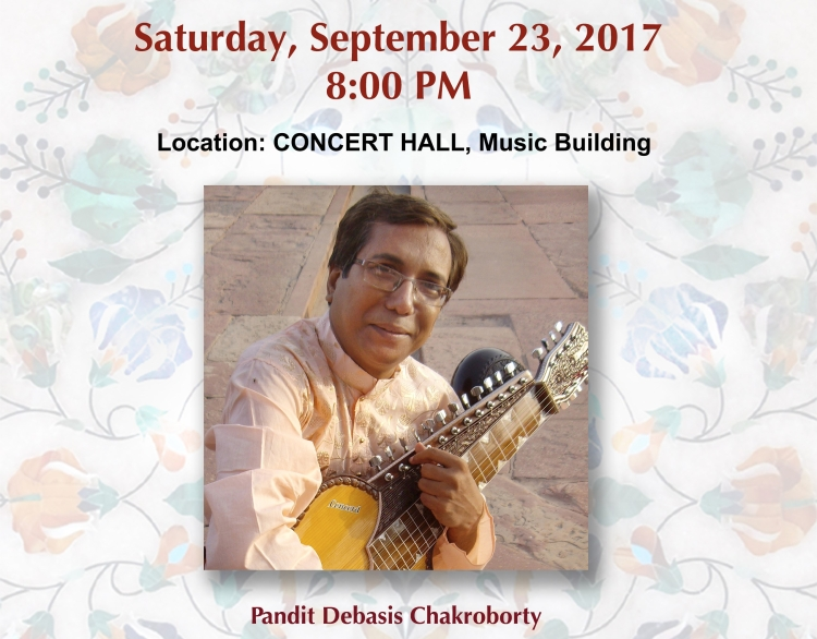 Flyer for concert featuring Debasis Chakroborty