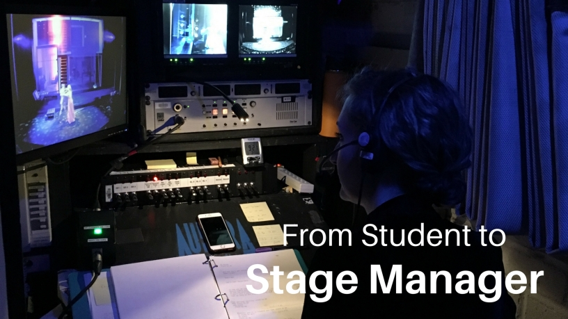 Samantha Watson working backstage as a stage manager