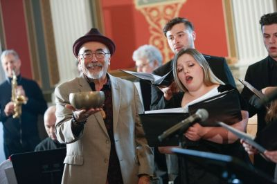 U.S. Poet Laureate Juan Felipe Herrera performs at the Library of Congress in April with the Fresno State Chamber Singers