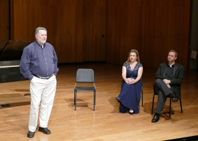 From left: Dr. John Karr, Dr. Maria Briggs and Limuel Forgey at the Don Giovanni lecture/recital