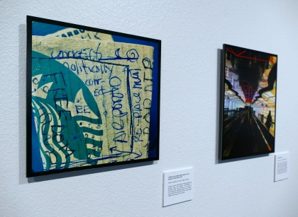 Artwork on display at Juan Felipe Herrera's recent exhibition