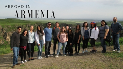 """""""Abroad in Armenia"""" - The students pose for a photo in the green, scenic hills of Armenia."""