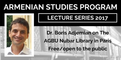 Dr. Boris Adjemian will give an Armenian Studies lecture