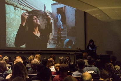 Farzana Wahidy talks about her work during a lecture at Fresno State.
