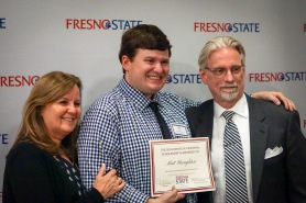 Scholarship recipient Matt Broughton with his parents
