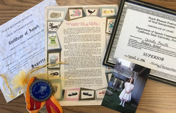 Memorabilia from when Stacy Batrich-Smith and her daughter Cassidy Smith performed at Fresno State's Peach Blossom Festival in 1965 and 1996.