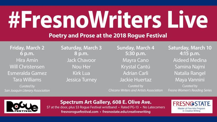 Fresno Writers Live at this year's Rogue Festival