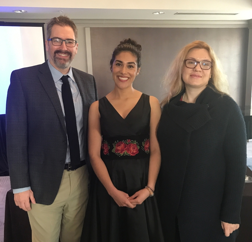 From left, Dr. Anthony Radford, Alejandra Tejeda and Dr. Maria Briggs