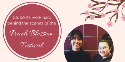 Students work hard behind the scenes of the Peach Blossom Festival. Students pictured are Liz Arredondo and Ashley White-Delk.