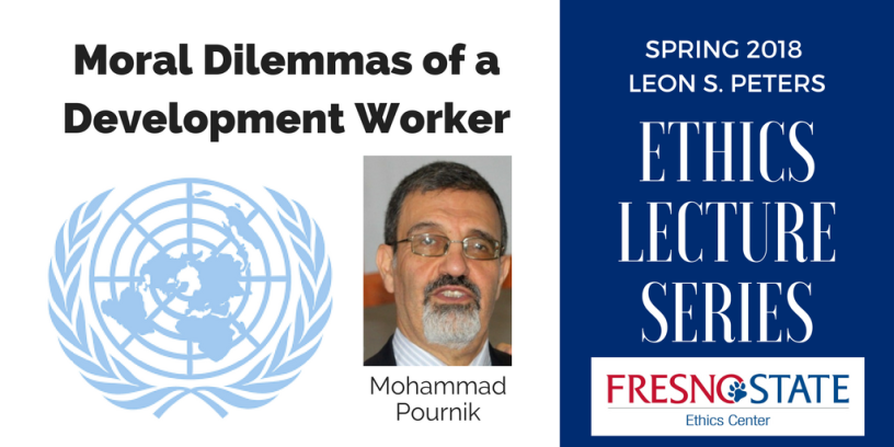 "Mohammad Pournik will discuss ""Moral Dilemmas of a Development Worker"""