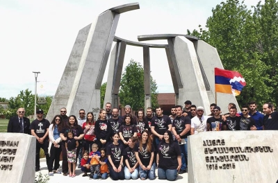 Students at the Armenian Genocide Monument at Fresno State