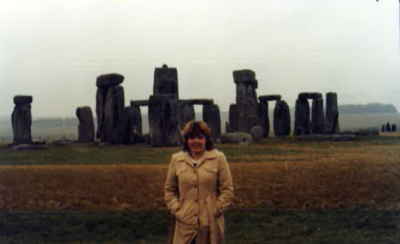 Dana Rethwisch at Stone Henge in 1984, the first time the London Semester was offered