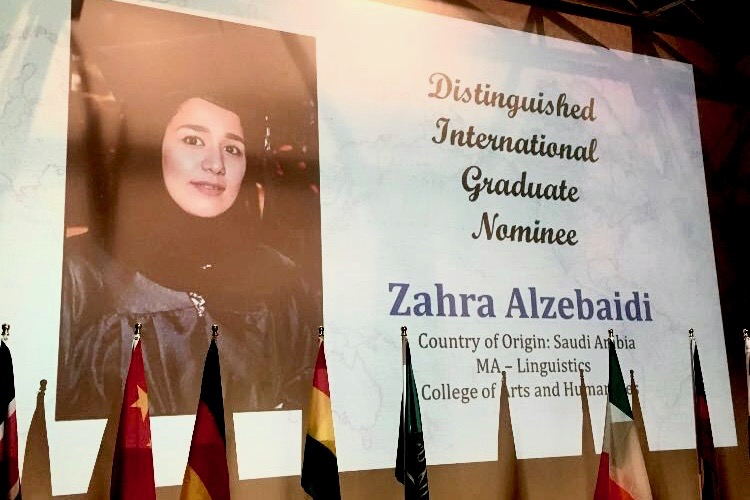 Distinguished International Graduate Nominee Zahra Alzebaidi. Country of Origin: Saudi Arabia. MA-Linguistics. College of Arts and Humanities