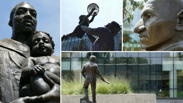 The Fresno State Peace Garden is located outside of the Henry Madden Library and features monuments to Mahatma Gandhi, Cesar E. Chavez, Martin Luther King, Jr., and Jane Addams.