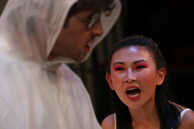 "Thuy Duong in the production of ""A Particle of Dread"""