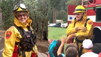 Laurel Hendrix and Howard Hendrix appear in their firefighting gear.