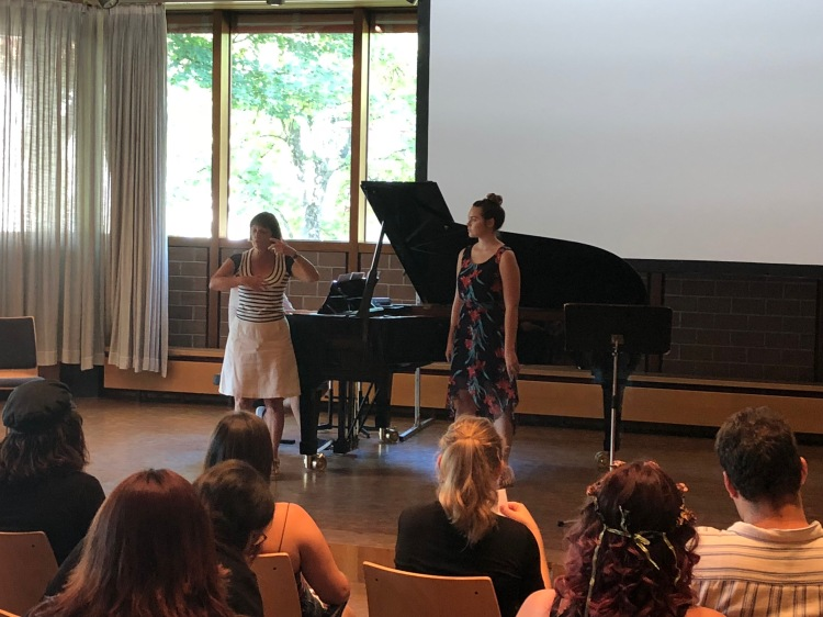Fresno State Sophomore Voice Major Jayci Cozad from Riverdale CA works on German Lieder with Prof. Céline Dutilly of the Munich Hochschule für Music at CSU Summer Arts in Trossingen Germany 7/30/18.