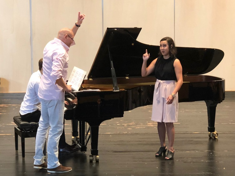 We are having a great time and learning a lot at Summer Arts in Germany! Fresno State Master of Music student Ashley Trembley works with baritone Bo Skovhus at the Musik Hochschule für Musik in Trossingen Germany 8/2/18.
