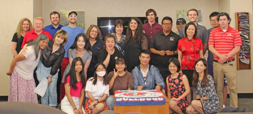"""Beijing Union University students along with Fresno State faculty and staff who helped with the """"Media Communication and Culture in America"""" program."""