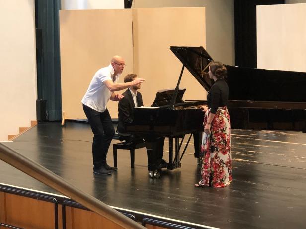 Opera Singer Bo Skovhus works with Soprano and Fresno State Alumna Marielle Petricevich (M.M '15) in Trossingen Germany. 8/1/18