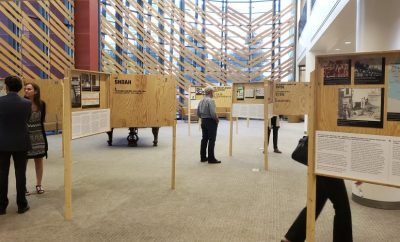 Visitors explore the Genocides of the 20th Century exhibit at the Henry Madden Library on Sept. 6.