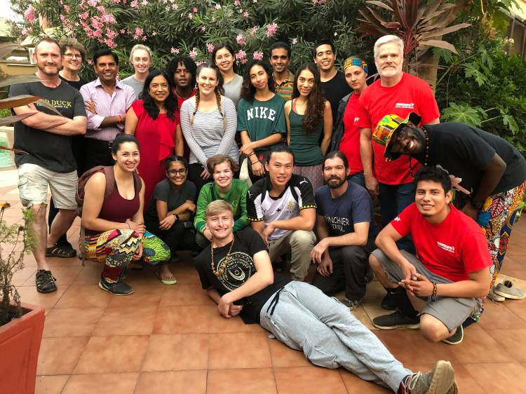 Fresno State students and faculty pose for a group photo in Ghana.