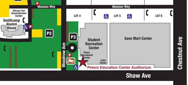 Map of the Peters Education Center Auditorium in the Student Recreation Center