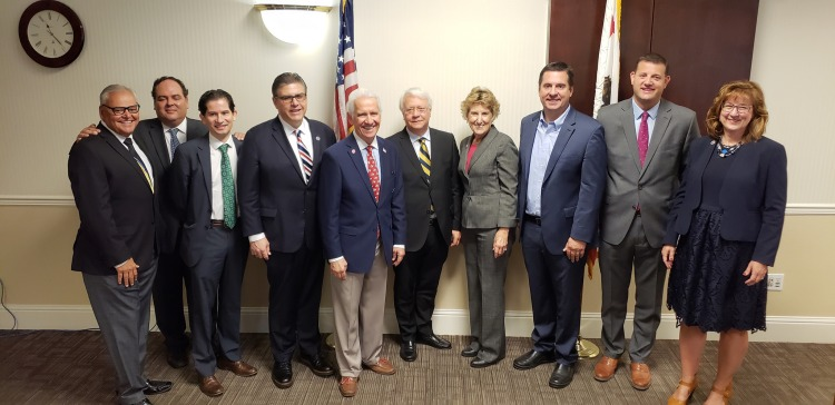 Dr. Vasco Rato, FLAD president, director Miguel Vaz, Fresno State President Joseph I. Castro, Rep. Jim Costa, Rep. Devin Nunes, Rep. David Valadao, and other University officials, students, and faculty for a reception and gift announcement at 11 a.m. Nov. 5 in the Smittcamp Alumni House.