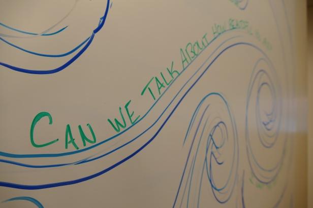 White board inside the Laureate Lab