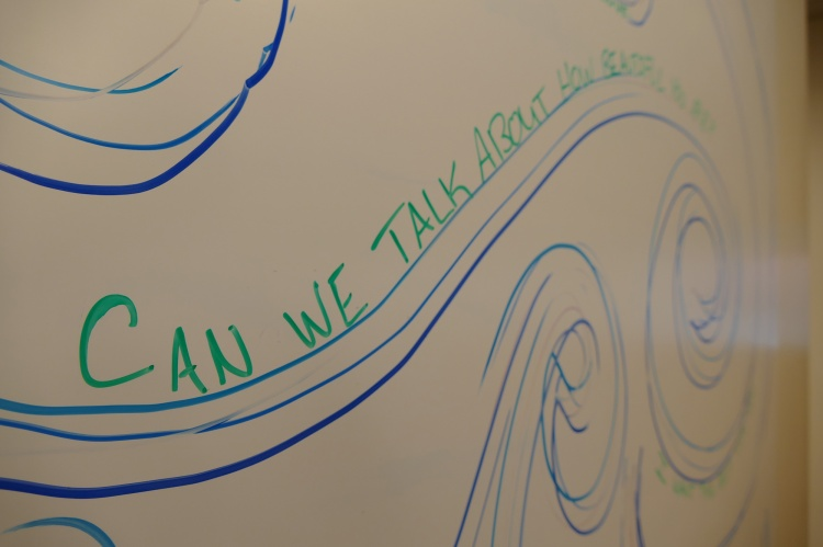White board inside the Laureate Lab