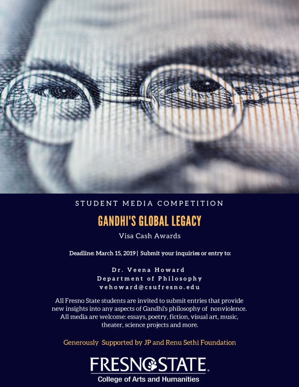 Gandhi's Global Legacy student media competition flier