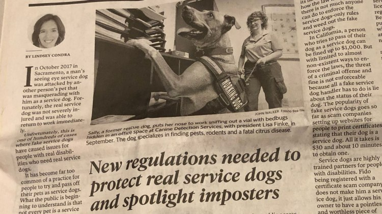 "Lindsey Condra's Fresno Bee Op-Ed Article titled ""New regulations needed to protect real service dogs and spotlight imposters"