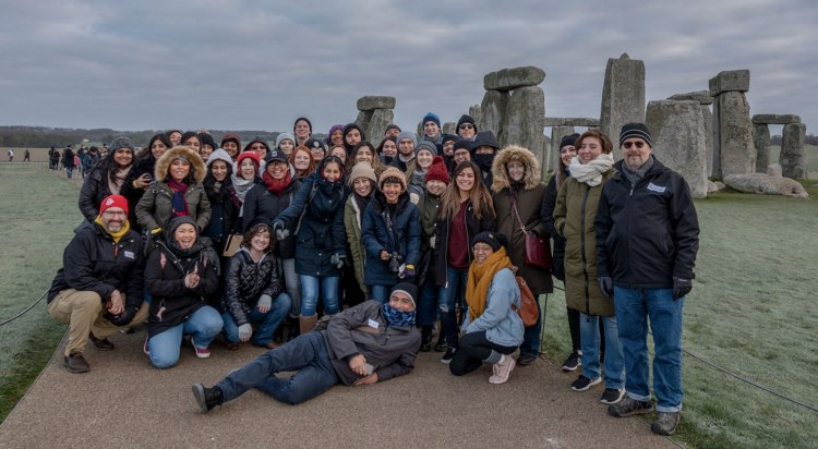 Fresno State students at Stonehenge.