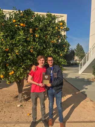 Zoldoske and Aceves display their first place award at CSU Fullerton
