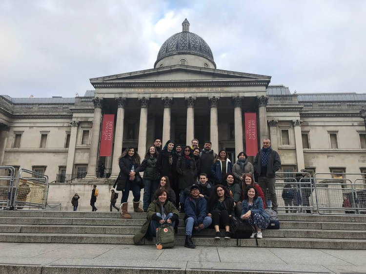 We gather (well most of us, some were late on the tube) on the steps of the National Art Gallery.