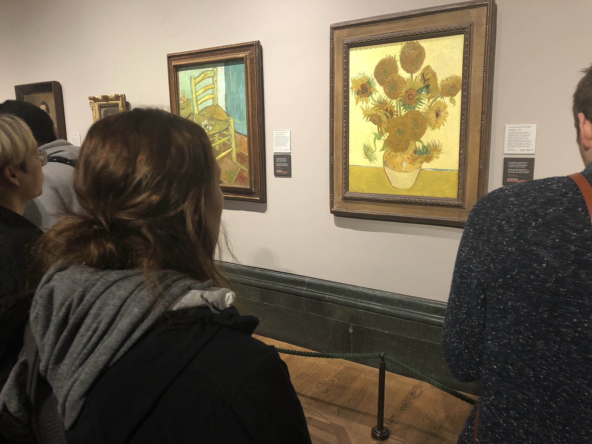 "McKenna La Blue takes in Van Gogh's very famous painting ""Sunflowers""."
