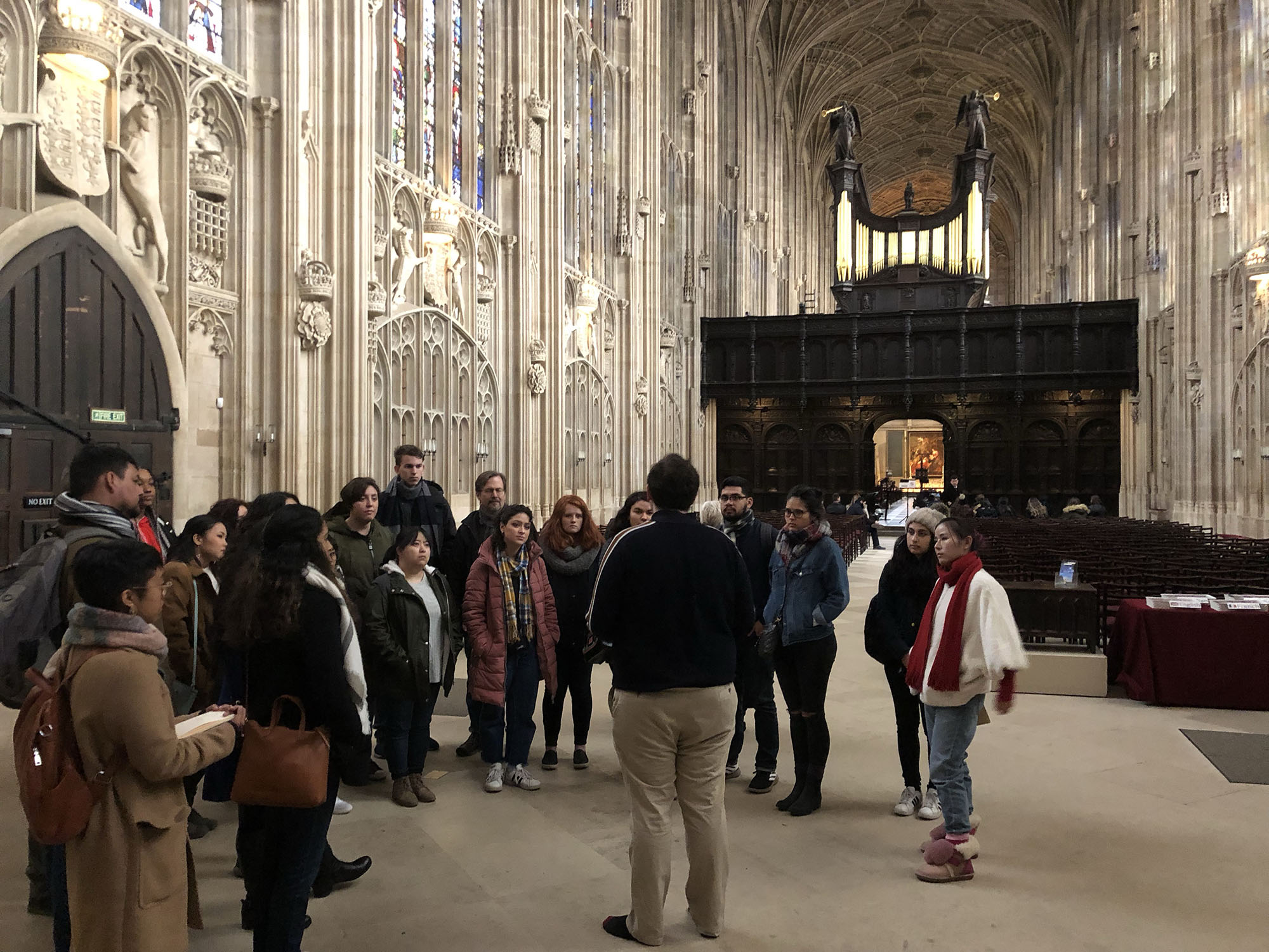 Students hear from Donal McCann about the choir at King's College Chapel.