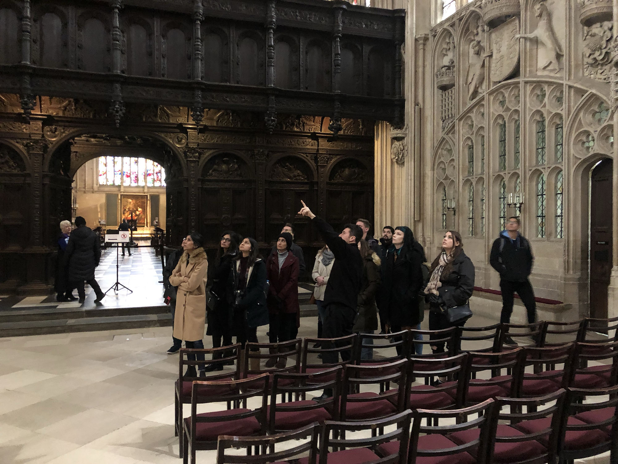Students receive and architectural tour of the the King's College Chapel.