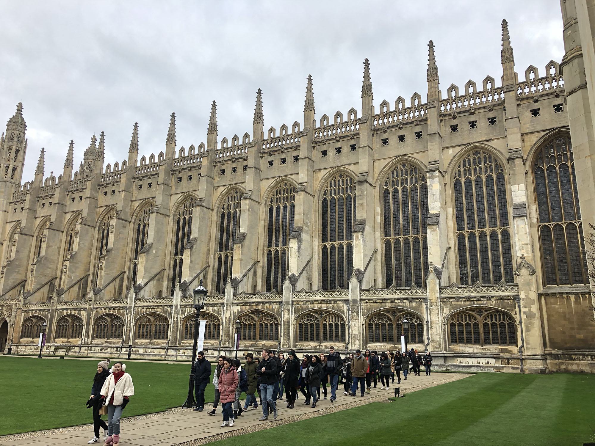 Fresno State students leaving King's college Cambridge after two wonderful tours of the Chapel (behind).